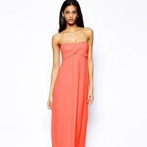 ASOS strapless coral maxi dress